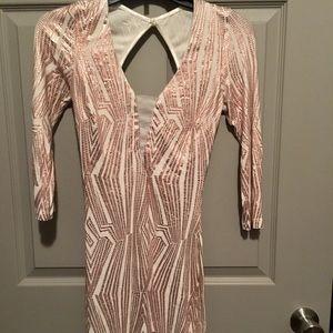 Fashion Nova pink metallic patterned dress.